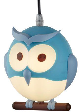 Childs Room Novelty Owl Pendant Ceiling Light Blue