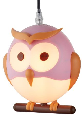 Childs Room Novelty Owl Pendant Ceiling Light Pink