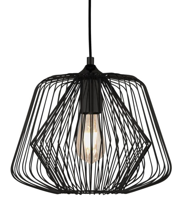 Bell Cage 1 light pendant ceiling light in matt black closeup