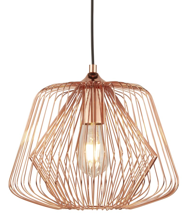 Bell Cage 1 light pendant ceiling light in shiny copper closeup