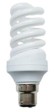 Spiral 25w BC Warm White Flourescent Light Bulb
