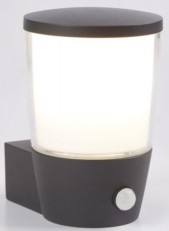 Tucson PIR Sensor Outdoor Wall Light Dark Grey White Shade IP44