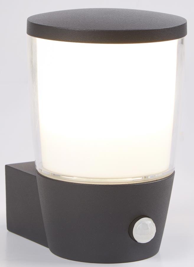 Tucson PIR Sensor Outdoor Wall Light Dark Grey White Shade IP44