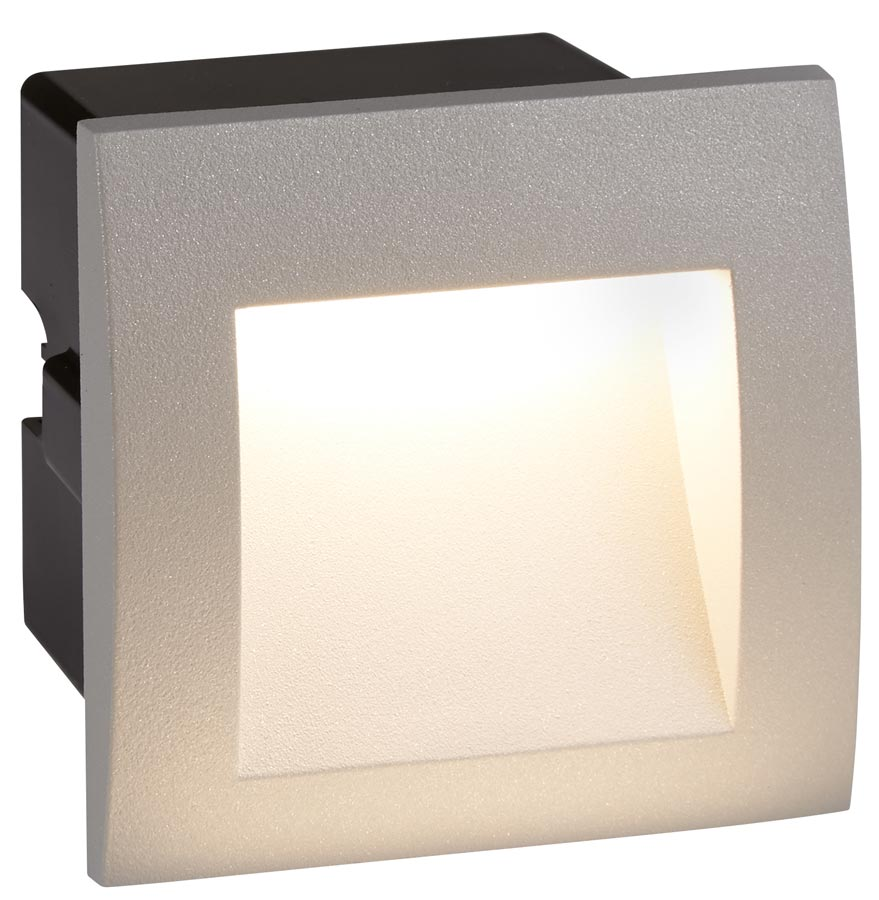 ankle small 1w led outdoor recessed wall light grey ip65 0661gy