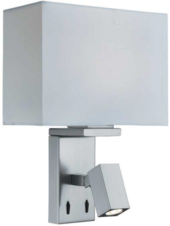 Bedside Wall Light Switched LED Reading Light White Shade Satin Silver