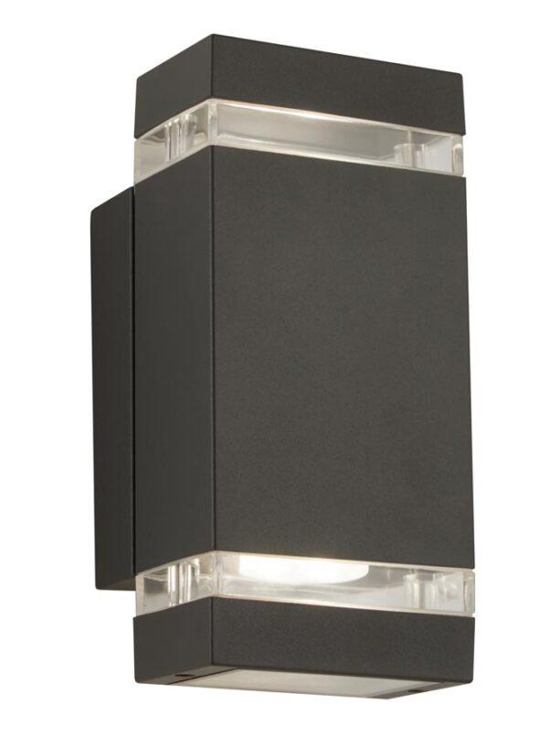 modern 2 light LED outdoor wall light in dark grey aluminium IP44