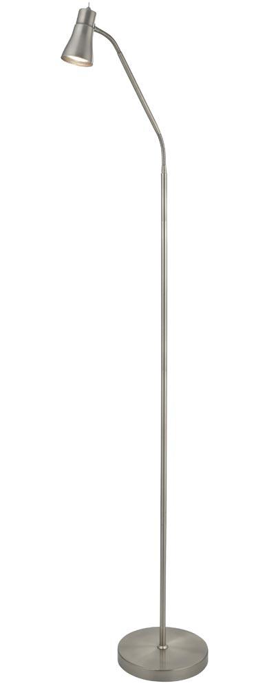 Fusion 1 light adjustable floor reading lamp satin silver full