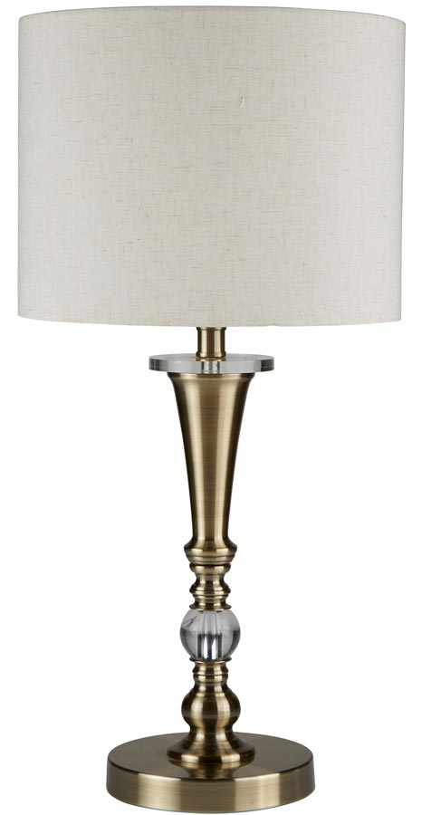 Drum Traditional 1 Light Table Lamp Antique Brass Oatmeal Linen Shade