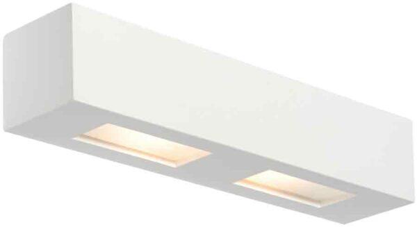 Box Modern White Plaster 2 Lamp Wall Light Downlighter