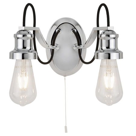 Olivia 2 Light Switched Wall Light Polished Chrome Retro Industrial Style