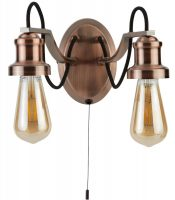 Olivia 2 Light Switched Wall Light Antique Copper Retro Industrial Style