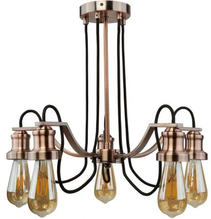 Olivia 5 Light Chandelier Pendant Antique Copper Retro Industrial Style