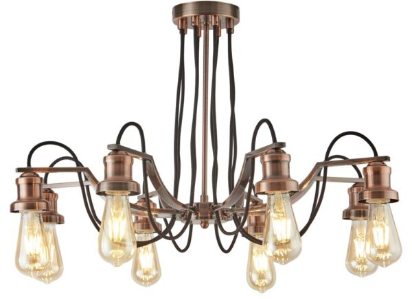 Olivia 8 Light Chandelier Pendant Antique Copper Retro