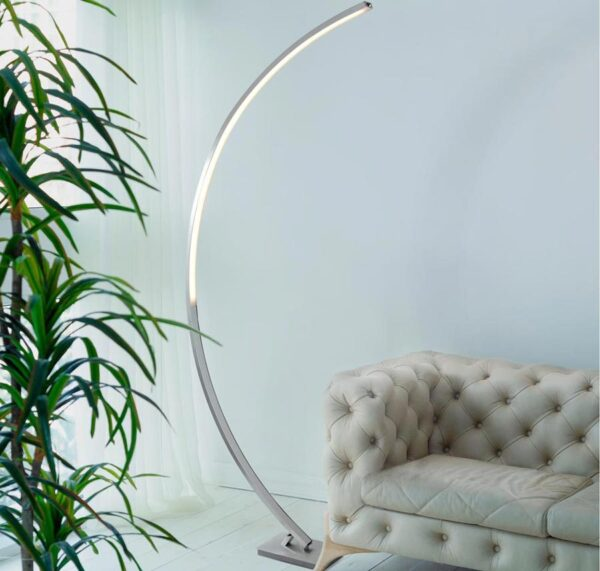 Colton 24w LED contemporary curved floor lamp with dimmer in satin silver