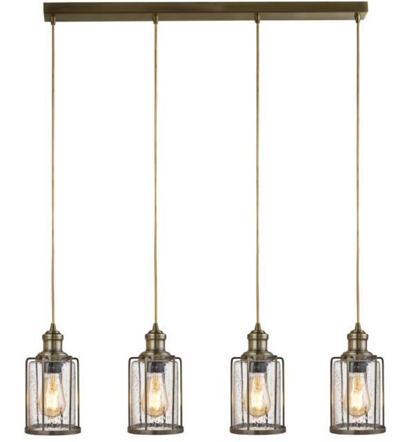 Pipes 4 light ceiling pendant bar antique brass seeded glass