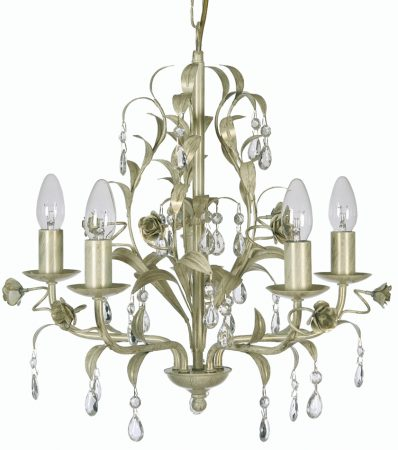 Cream And Gold 5 Light Leaf Chandelier Catania