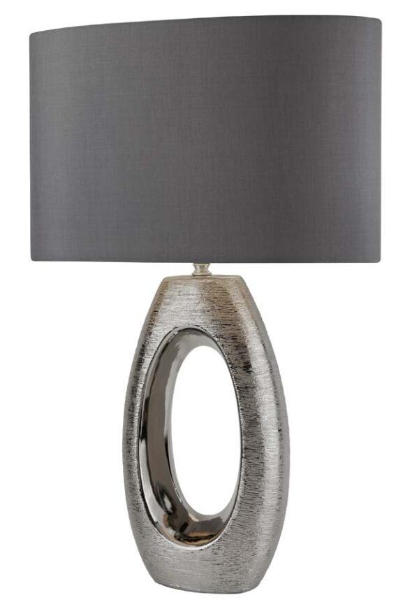 Artisan 1 light oval table lamp in chrome with grey shade