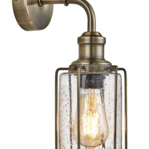 Pipes 1 Light wall light antique brass with seeded glass