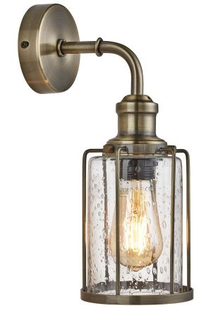Pipes 1 Light Wall Light Antique Brass Seeded Glass Shade