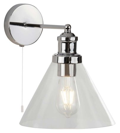 Pyramid 1 Light Switched Wall Light Polished Chrome Clear Glass