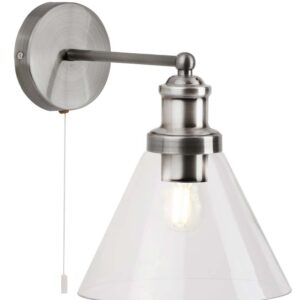 Pyramid 1 light switched wall light satin silver