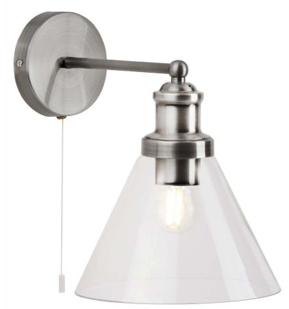 Pyramid 1 Light Switched Wall Light Satin Silver Clear Glass