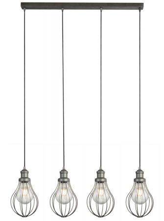 Balloon Cage Industrial 4 Light Ceiling Pendant Bar Pewter