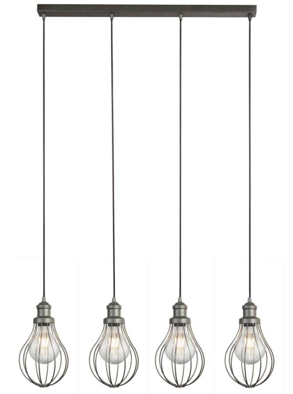 Balloon Cage industrial 4 light ceiling pendant bar in pewter