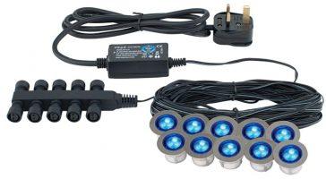 Ikon 10 Blue LED 30mm Round IP67 Decking Light Kit