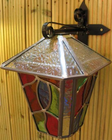 Large Multi Coloured Leaded Glass Outdoor Wall Lantern