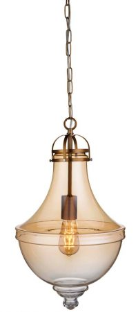 Cairo 1 Light Amber Glass Pendant Ceiling Light Satin Bronze