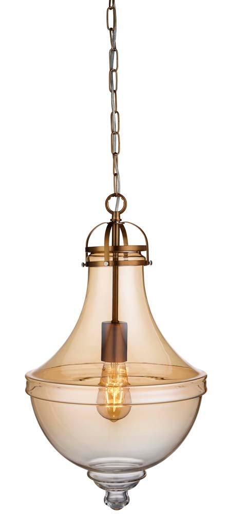Cairo 1 light amber glass pendant ceiling light