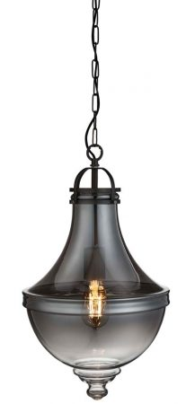 Cairo 1 Light Smoked Glass Pendant Ceiling Light Pewter