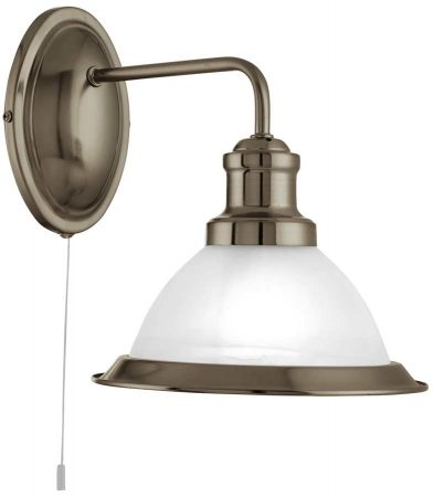 Bistro Retro Diner Antique Brass Switched Wall Light