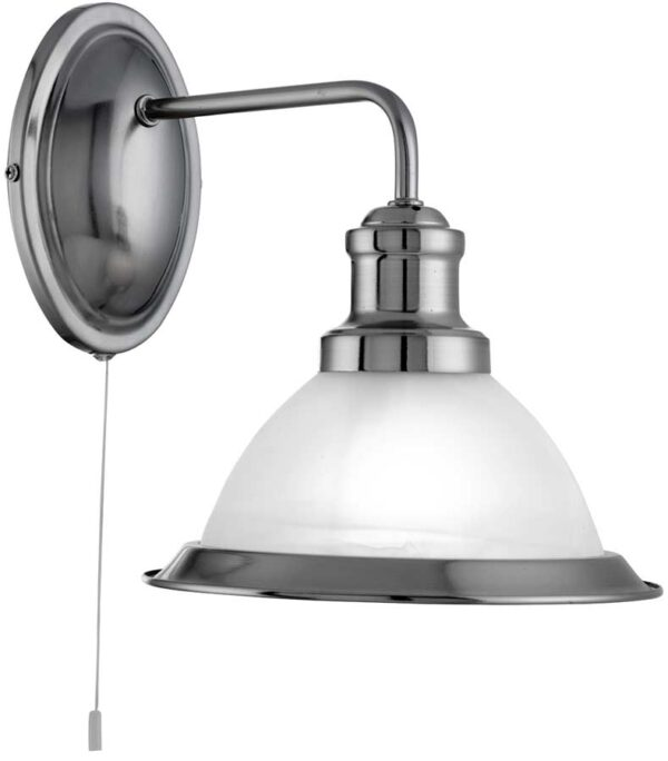 Bistro Retro Diner Satin Silver Switched Wall Light