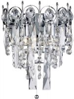Catherine Polished Chrome 2 Light Switched Crystal Wall Light