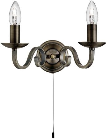 Richmond Traditional Antique Brass Switched Twin Wall Light