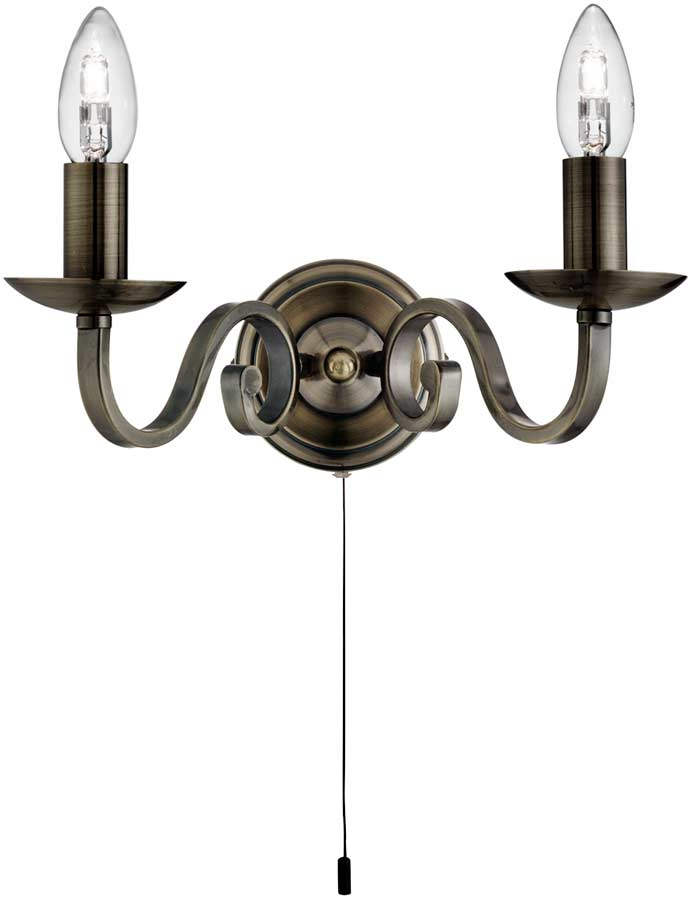 Richmond Traditional Antique Brass Switched Twin Wall Light 1502-2AB