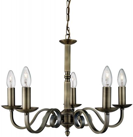 Richmond Traditional Antique Brass 5 Light Dual Mount Chandelier