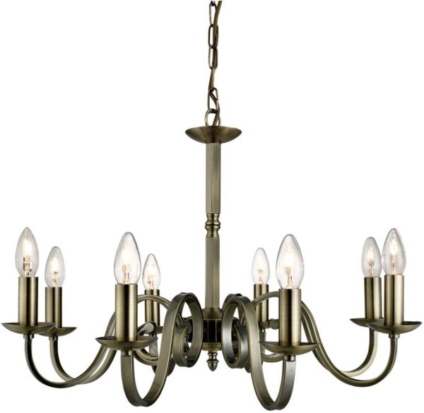 Richmond Traditional Antique Brass 8 Light Dual Mount Chandelier
