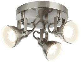 Focus 3 Light Satin Silver Industrial Circular Ceiling Spot Light Plate