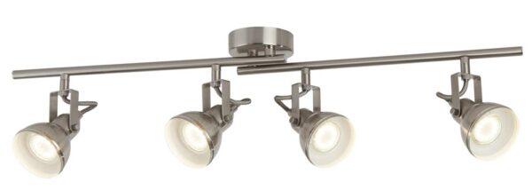Focus 4 Light Satin Silver Industrial Split Ceiling Spot Light Bar