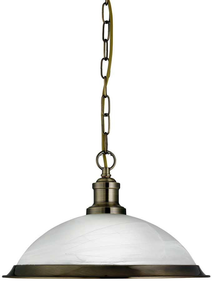 Bistro Retro Antique Brass Kitchen Ceiling Pendant 1591AB