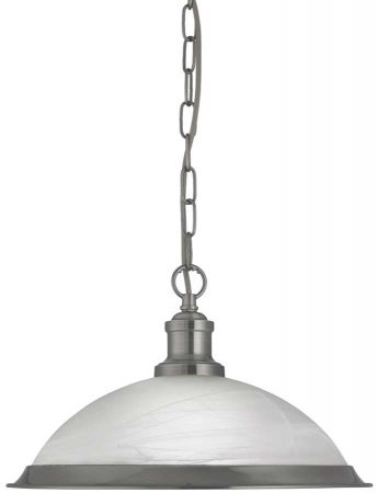 Bistro Retro Satin Silver Finish Kitchen Ceiling Pendant