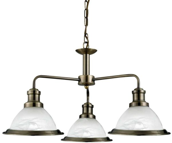 Bistro Retro Style Antique Brass 3 Lamp Ceiling Pendant