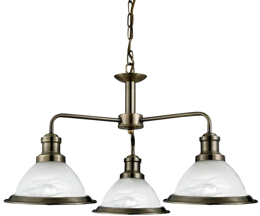 Bistro retro style antique brass 3 lamp ceiling pendant for Brass kitchen light fixtures