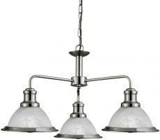 Bistro Retro Style Satin Silver 3 Light Kitchen Ceiling Pendant