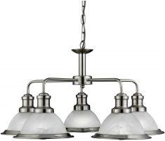 Bistro Retro Satin Silver 5 Lamp Chandelier Or Kitchen Pendant