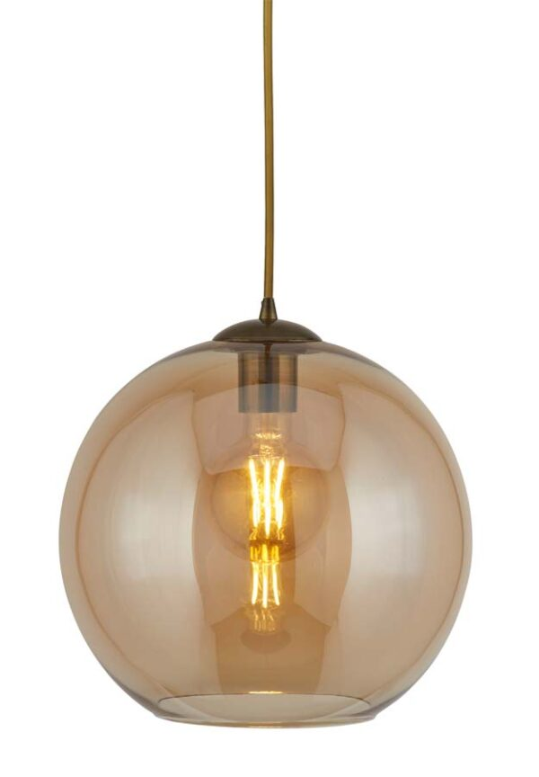 Balls 1 light 25cm round amber glass ceiling pendant
