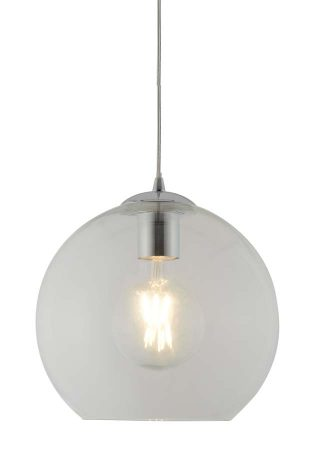 Balls 1 Light 25cm Round Clear Glass Ceiling Pendant Polished Chrome